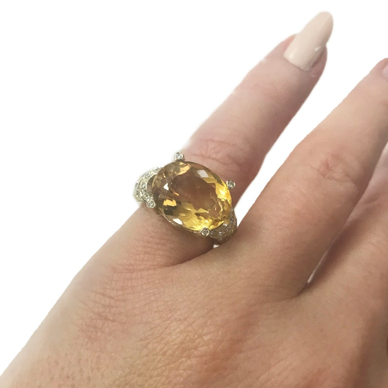 7.2 ct tw Natural Yellow Citrine & Diamond Solid Gold Cocktail image 0