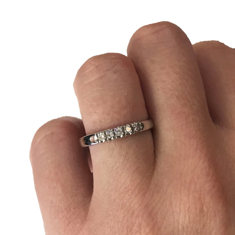 Natural Diamond Solid 14k White Gold or Sterling Silver 2.5 mm image 0