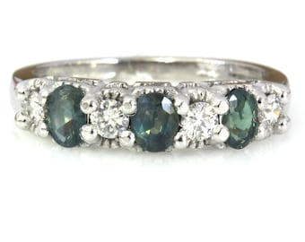1 ctw Natural Alexandrite & Diamond 7 Stone Band Ring / Solid 14k 18k Gold / Oval Cut Color Change Alexandrite Ring 4.5 MM / June Birthstone