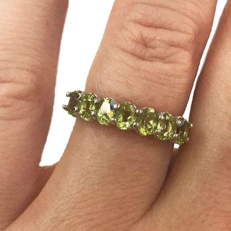 1.2 ct tw Natural Peridot Ring / 7 Stone Anniversary Band / image 0