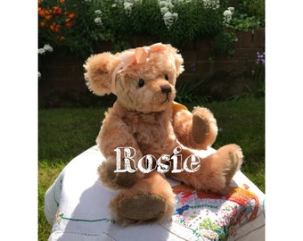 ROSIE, a rose pink mohair bear by Bo-Bears