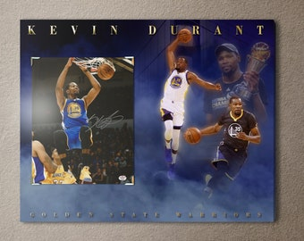 e1f05b45b Golden State Warriors superstar Kevin Durant signed autographed 8x10 photo  (w  COA) on an amazing 16x20 canvas!