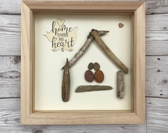 Home sweet home pebble art picture