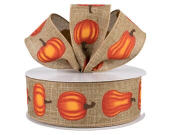 Wreath Supplies Bow Supplies Wired Cream Fall Ribbon Craft Supplies 1.5 inch Fall Pumpkin Ribbon Orange Thanksgiving Ribbon