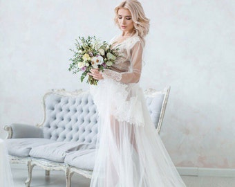Dressing gown Negligee Sexy robe for women Lace negligee White dressing gown  White negligee Lace dressing gown peignoir neglige Wedding gift e0ce2a3b8