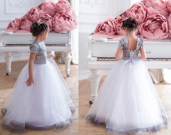 cf12cde9373 Silver Flower Girl Dress Floor Lenght Flower Girl Dress Girl floor Length  Dress Tulle Girl Dress Tutu Dress Christmas Dress Lace Dress