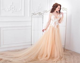 Peach wedding dress etsy peach wedding dress tulle blush wedding dress tulle dress tulle peach evening dress tulle gown blush junglespirit Images