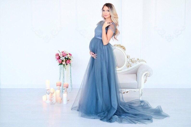 44b374ca930 Grey maternity wedding dress tulle maternity dress for photo