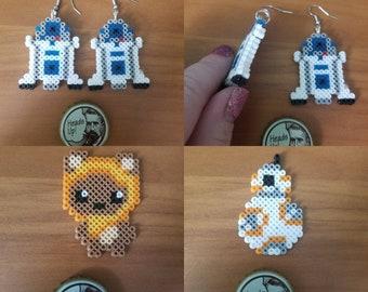 Starwars earrings, nickel and lead free, pixel earrings, hema beads, perler beads,