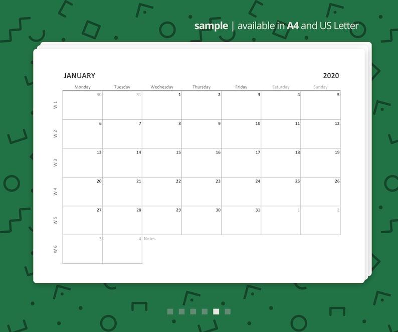 Printable Excel Monthly Calendar 2020-2021 Minimalist   Etsy