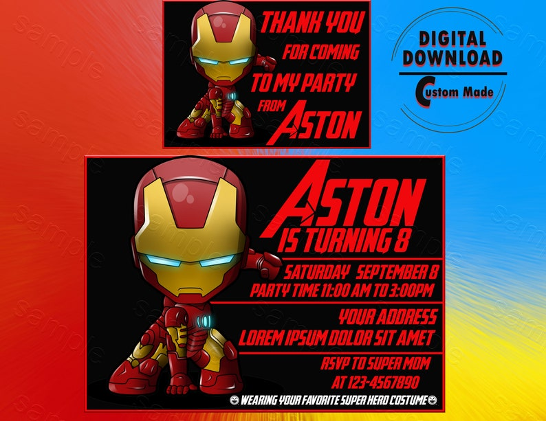 Iron Man Invitation Party Birthday