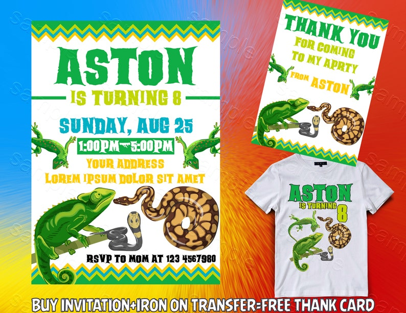 Reptile Invitation Iron On Transfer Lizard