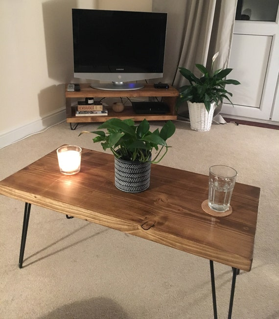 Solid Wood Retro Rustic Desk Side Table Handmade Coffee Table Hairpin Legs