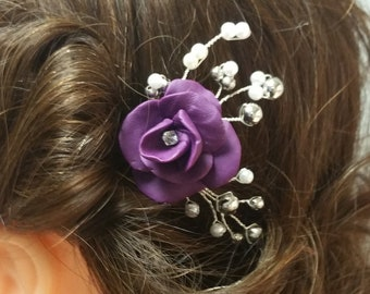 Purple rose with pearl and silver accents