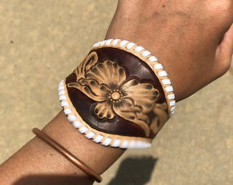 Whip stitched floral leather cuff