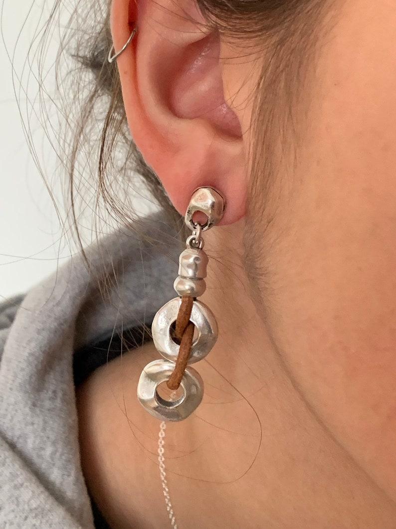 woman leather earrings Woman Boho leather earrings silver earrings spanish zamak tribal esrrings ethnic Earrings