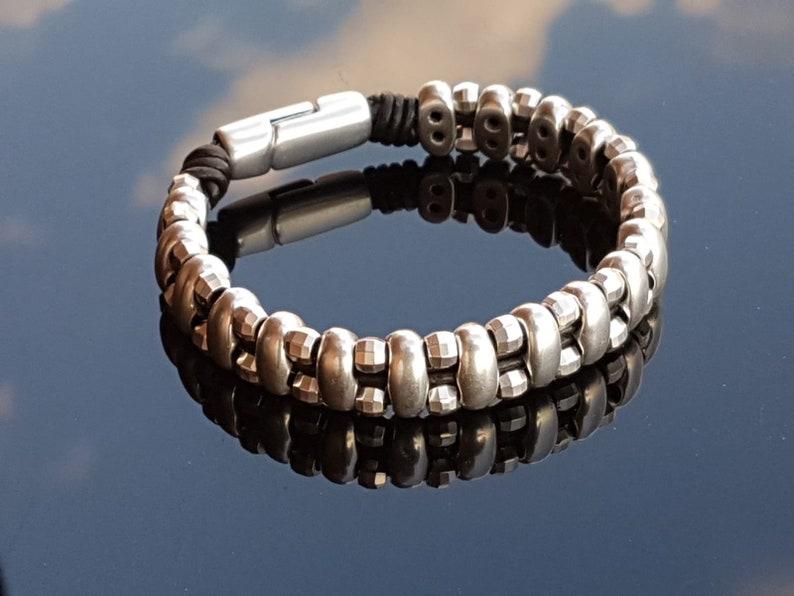 woman bra leather bracelet Man leather Bracelet silver beaded bracelet boho bracelet Zamak Spanish Jewelry wrap bracelet man bracelet