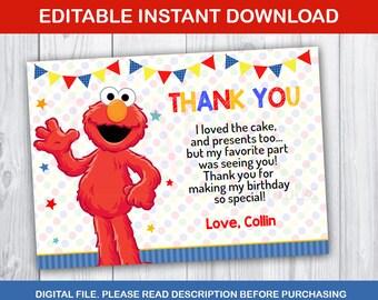 Elmo Thank You Card Etsy