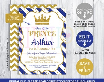 Birthday Party Invitation Template | Royal Invitation Etsy
