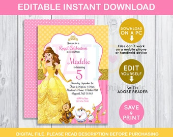 Belle invitation etsy editable beauty and beast invitation beauty and beast birthday party pink belle beauty editable invitation decoration instant download filmwisefo