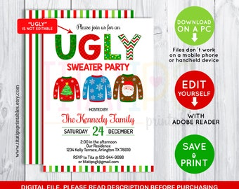 ugly sweater party invitations email ugly sweater party invitation xmas party christmas invite holiday card eat drink and be template sweater invite etsy