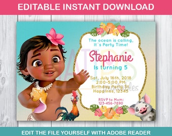Editable Baby Moana Invitation Birthday Party Printables Theme INSTANT DOWNLOAD