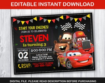 editable cars invitation mcqueen birthday party lightning mcqueen editable chalkboard invitation disney movie cars instant download