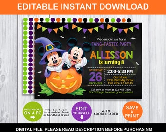 Editable Mickey Mouse Halloween Invitation Disney Birthday Party Instant Download