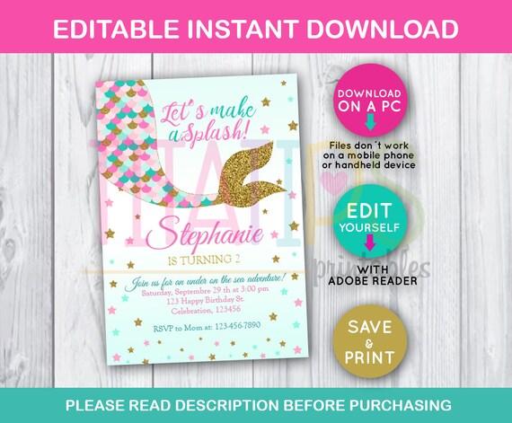 Little Mermaid Tail Editable Invitation