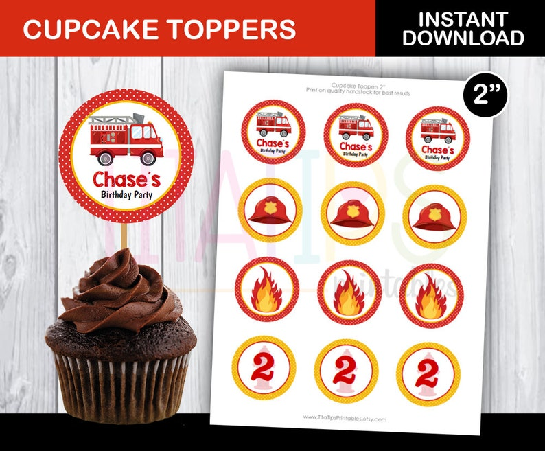 Editable Fire Truck Cupcake Toppers Firetruck Circles Etsy