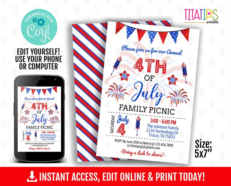 Editable 4th of July Invitation, Family Picnic, Instant Access, DIGITAL FILE