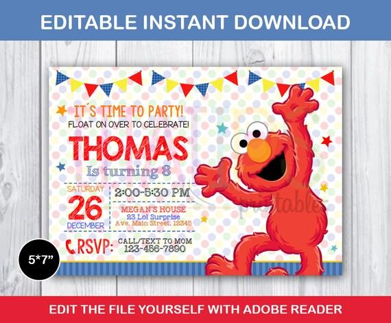 Elmo invitation elmo editable invitation elmo birthday etsy solutioingenieria Choice Image