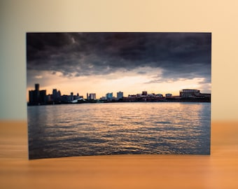 Detroit Skyline from Belle Isle Curved 4 x 6 Metal Print