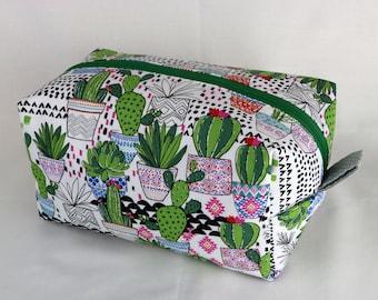 Cactus Makeup Cosmetic Bag, Cactus Pencil Pouch, Cactus Gift, Zipper Pouch, Fabric Bag, Floral, Cacti