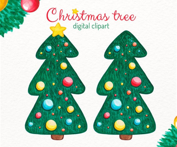 Christmas Tree Clipart Images.Christmas Tree Clipart Watercolor Christmas Tree Pine Tree Clip Art Christmas Clipart Christmas Scrapbok Clipart Digital Clipart Download
