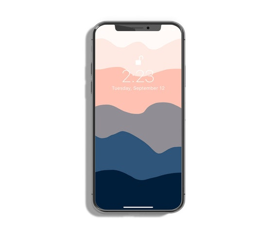 Abstract Iphone Background Beige Navy Blue Wallpaper Phone Etsy