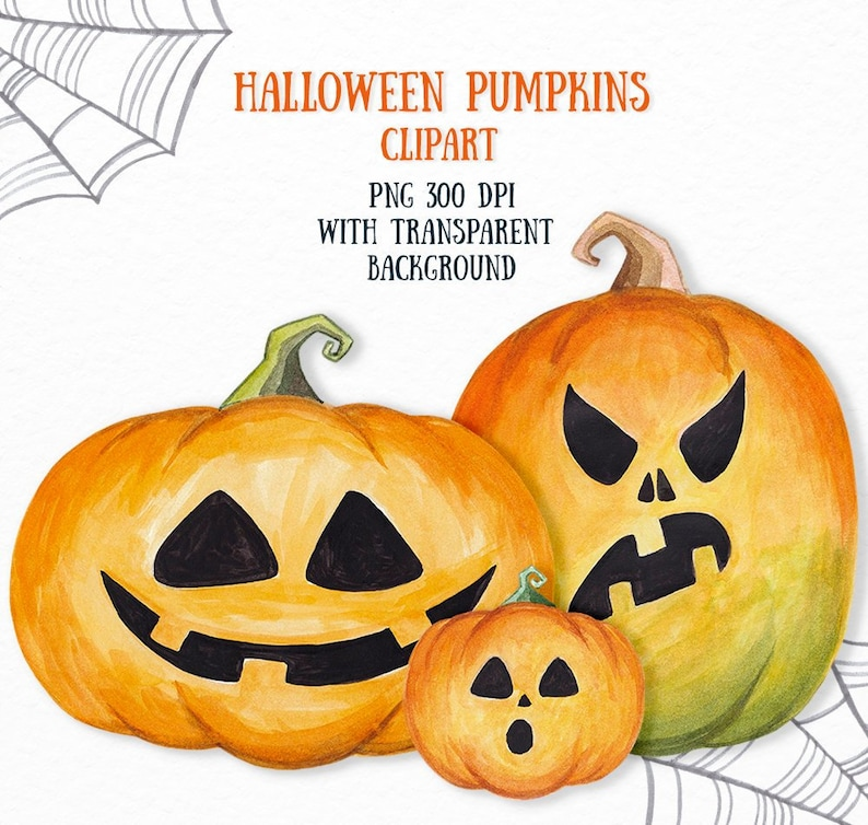 Halloween Pumpkin Clipart Transparent Background.Halloween Clipart Pumpkin Clipart Jack O Lantern Scary Pumpkin Clipart Scrapbook Decor Halloween Item Watercolor Pumpkin Commercial Use
