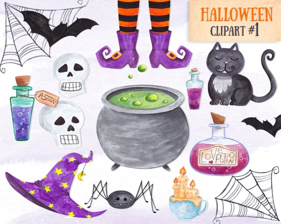 Witch clipart Halloween clipart Watercolor witch items clipart Commercial  use Digital Halloween clipart Scrapbook Halloween party clipart