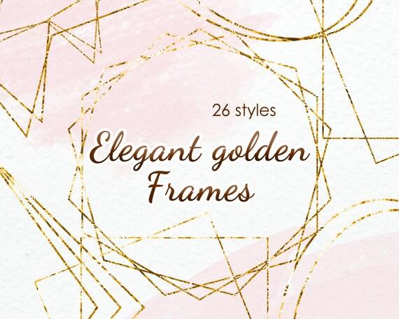 Gold foil frame for invitation card Commercial Use Digital | Etsy
