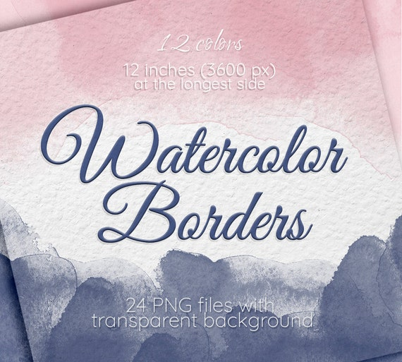 Watercolor Texture Borders Frame Clipart Blush Pink Gray Blue Neutral Beige Wedding Invitation Card Background Design Scrapbook Decor
