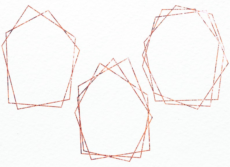 Rose Gold Frame Clipart Polygonal Frame Commercial Use Gold