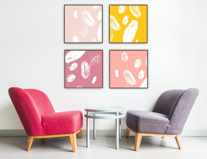 Abstract Pink Yellow Wall Art Set Of 4 Prints Printable Wall Art Neutral Beige Wall Art Pastel Colors Bedroom Wall Decor Downloadable Art