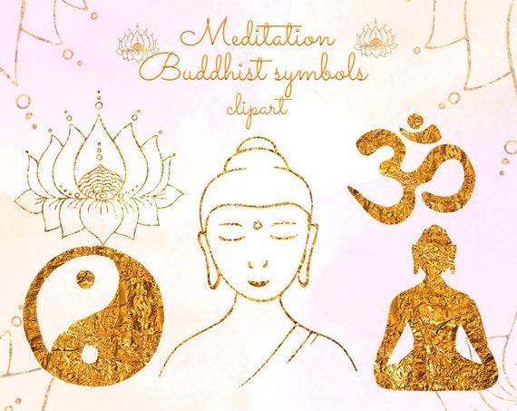 Yoga clipart Meditation clipart Buddhist symbols clipart Meditating Buddha  Lotus Om symbol Yin Yang Gold foil texture Buddha silhouette