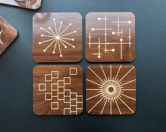 Set of 4 Engraved Wood Coasters, Mid Century Modern, Variety Pack Option 2