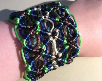 Macramé Big Cuff - Macramé Bracelet - Green Bracelet - Statement Bracelet Cuff