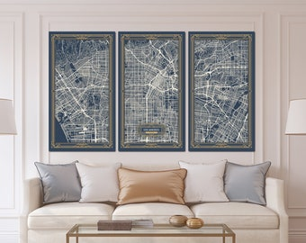 LOS ANGELES California Map Art Deco Canvas Print Map Wall Art Canvas Print  Ready To Hang For Home Decor Art Deco Map Style