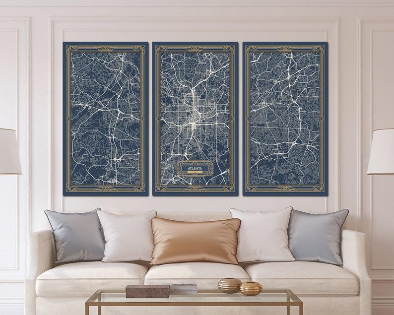 Map Of Georgia 75.Atlanta Georgia Map Art Deco Canvas Print Map Wall Art Canvas Etsy