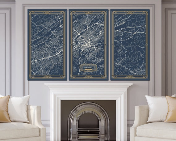 Knoxville Tn Tennessee Canvas Map Print Art Deco Stretched Map Etsy