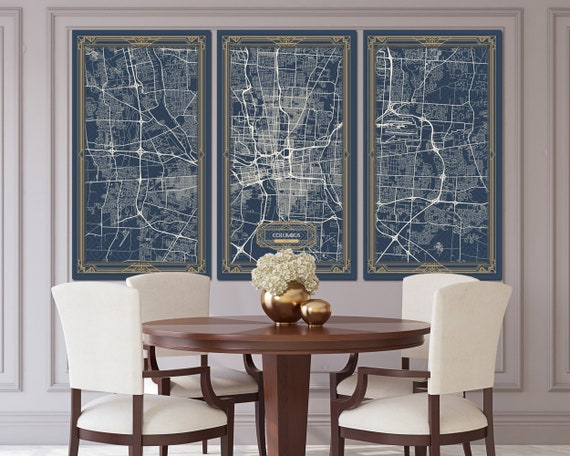 COLUMBUS Ohio map Art Deco Stretched Canvas print Map Wall art canvas print  ready to hang for home decor Art Deco Map Style