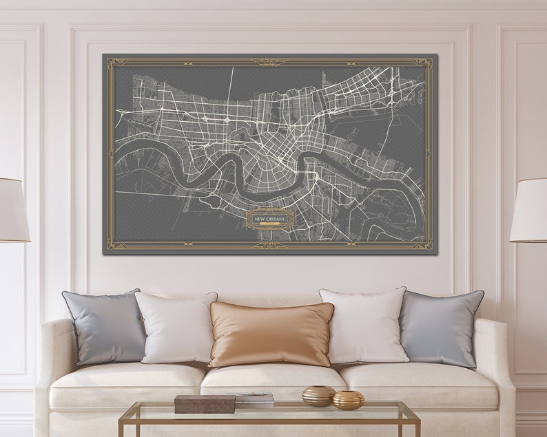 NEW ORLEANS Louisiana map Art Deco Large Canvas print Map | Etsy